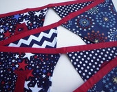 Patriotic America Fabric Party Banner - 4th of July - Red, White and Blue
