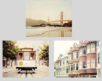 San Francisco Photography Set, California, Golden Gate Bridge, Cable Car, San Francisco Art, Print Set 5x7, 8x10, 11x14