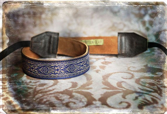 Blue Damask Leather and Suede Camera Strap