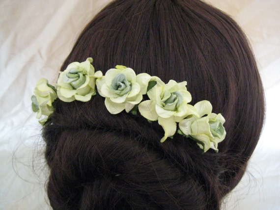 Hairpins x 5. Sage/Mint Green Paper Roses. Bridal, Regency, Victorian.