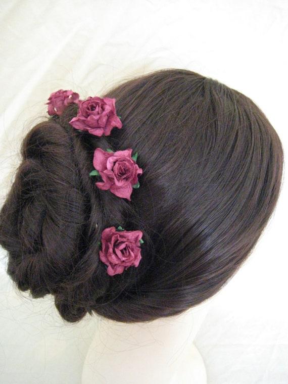 Hairpins x 5. HANDMADE. Burgundy Paper Roses. Bridal, Regency, Victorian.