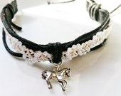 Leather Beaded Horse Bracelet - Women Gift Teen Girls