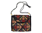 Vintage Kilim Bag • Large Woven Tapestry Carpet Crossbody Purse w/ Wood Beads