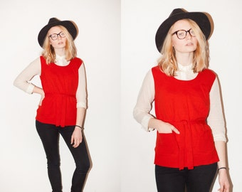 70s Bright Red Sleeveless Sweater Vest Tunic. M.