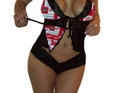 NHL Lingerie Detroit Red Wings Sexy Cami Top and Lace Booty Shorts Set Plus FREE Matching G-String - Size S/M - Ready to Ship