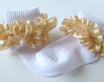 Gold Sheer Ruffled Ribbon Socks