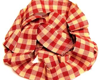 1 yard Homespun Cotton Fabric Ribbon Large Red Cream Check