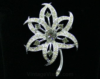 Exceptionally Pretty Flower Pin - 60s Sarah Coventry Brooch - 1960s - Bright Rhinestones & Grey Rhinestone Details - Mint Condition - 42496
