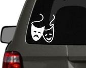 Comedy Tragedy Masks, Drama Vinyl Car Decal BAS-0304