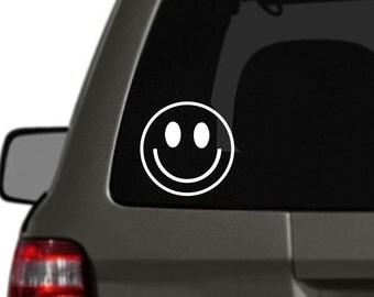 Smiley Face Vinyl Car Decal BAS-0204
