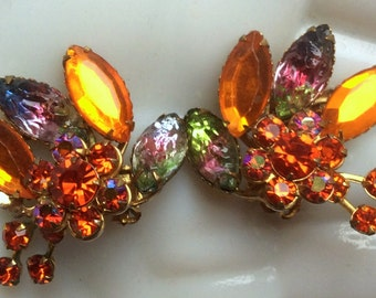 Orange Rhinestone Earrings with Art Glass