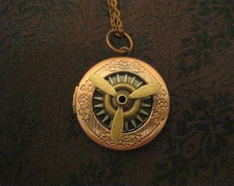 Steampunk propellor copper locket necklace