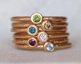 Gemstone Gold Pebble Ring - Gold Birthstone Ring - Choose 1.3mm Band or 1.6mm Band