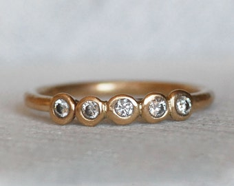 5 Diamond Ring - Gold and Diamond Pebble Ring - Eco-Friendly Recycled