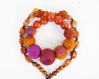 Amber Necklace Terracotta Necklace Brown Necklace Purple Necklace Natural Stone Necklace