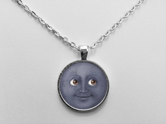 New Moon with Face Emoji Necklace or Keychain