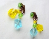1950s Fruity yellow / green / blue lucite dangly earrings - Clip on stamped Germany