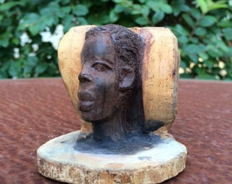 Miniature African American Male carved head