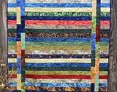Handmade Tropical Batik Throw, Sofa or Lap Quilt Blanket