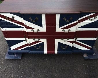 Wood stained top Union Jack  buffet