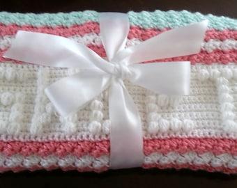 Personalized Crochet Baby Blanket Crochet Baby Blanket Personalized Blanket Baby Girl Blanket Baby Boy Blanket Stroller Blanket,