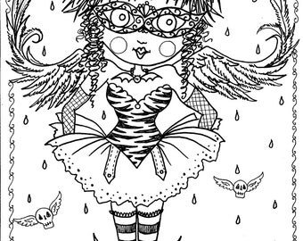 instant download 5 pages gothic angels art digital coloring book - Gothic Coloring Pages