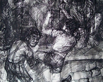 "Original Pen and Brush Ink Drawing ""Boys jumping fence"""