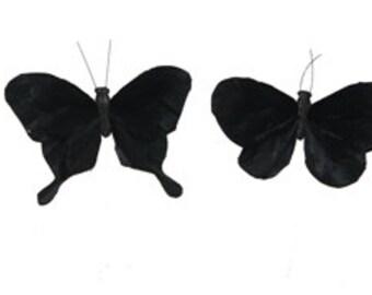 Feather Butterflies -12 BLACK Butterflies - 2 Styles - Artificial Butterflies, Halloween Costumes, Hair Accessories
