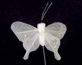 Feather Butterflies -12 Tiny Vintage Inspired 1 Inch OFF WHITE Artificial Butterflies - Weddings, Hair Accessories