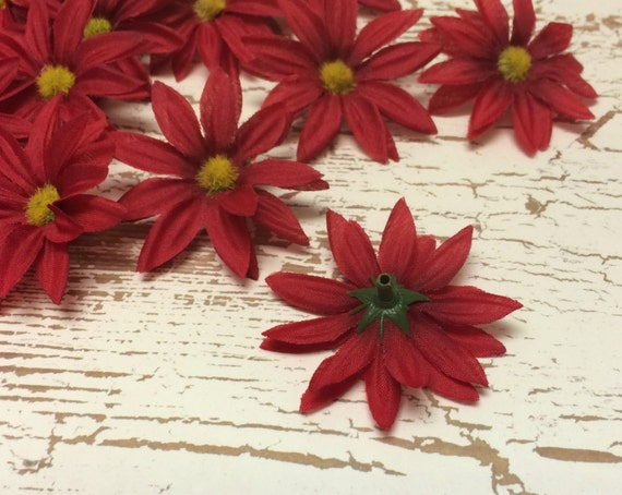 Artificial Flowers - Red Daisies Artificial 30 - Crown Flowers, BlissfulSilks Hair Accessories at Etsy Studio