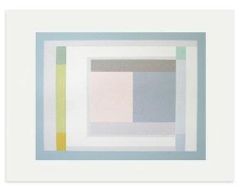 Large geometric screenprint. Abstract screenprint, handmade original, grid, graphic, block colour modern art by Emma Lawrenson