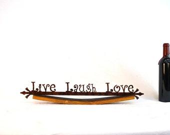 "CRUZEN - ""Live Laugh Love"" w/ Napa wine barrel stave holder -100% recycled"