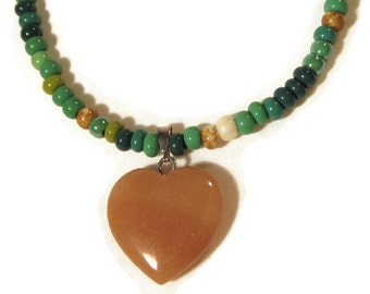 Agate Heart Pendant With Seed Bead Necklace - Teen Jewelry, Teen Girl Gift, Teen Girl Jewelry, Girl Gift, Beach Jewelry