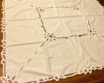 Vintage Table Cloth White with Lace Applique Design
