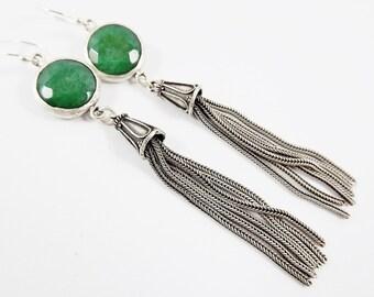 Emerald Green Round Gemstone Tassel Earrings - Jade - Matte Silver plated with Sterling Silver Earwire - Boho Gypsy Style
