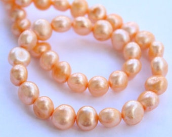 "Baroque Pearl, Nugget Pearl, Freshwater Pearl, 9-11mm, yellow orange, 16"" full strand 40 pc #BA4037"