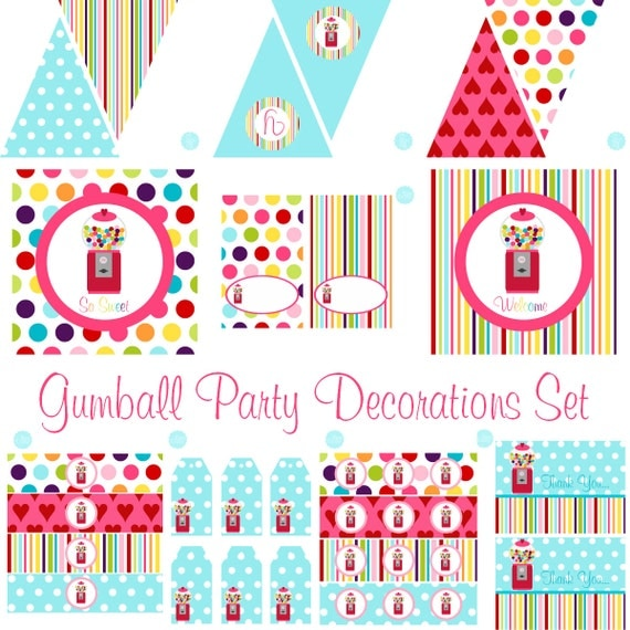Gumball Birthday, Gumball Baby Shower, Gumball Birthday Decorations, Gumball Baby Shower Decorations, Gumball Party Decorations, BeeAndDaisy