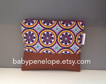 Clearance*** Flower Medallions and  FAUX Leather  Clutch- ready to ship