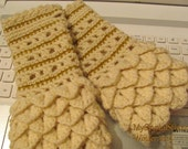 Crochet Cotton Crocodile Stitch Woman's Reversible Fingerless Gloves in Ivory Wool and Gold Accent