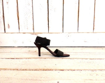 Vintage dark brown open toe high heel stretch wrap sandals/slip on high heel shoes