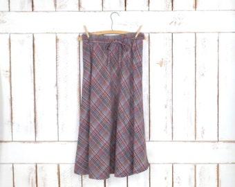 70s vintage brown/grey plaid wool midi skirt/Tartan aline skirt/high waisted skirt