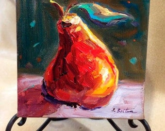 """Pear Painting, Original Oil Painting, Modern Still Live Portrait Painting, Mini Painting, Fruit Painting,  5""""x5"""", 1 1/2"""" Canvas, Gift Item"""