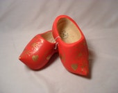 New Wooden Child's Size Red with Gold Decoration Clogs from Holland