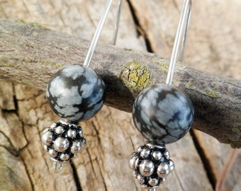 Snowflake Obsidian Earrings. Dangle Earrings. Snowflake Obsidian And Silver Earrings. Mineral Earrings. Handmade earrings.