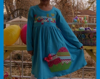 Easter Dress Personalized, Egg Applique and Name Easter Dress Girls - Infant Toddler Youth Girls