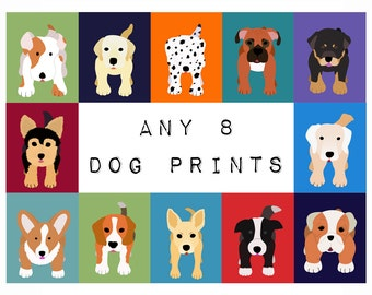 Dog Prints. Dog nursery art prints. SET OF any 8 Custom modern puppy pictures from paintings for kids, baby and child room decor by WallFry