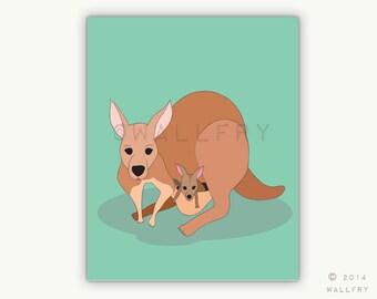 Kangaroo and baby print for baby nursery decor. Aussie animals. Bush nursery. Australian animal nursery art. Kangaroo print by WallFry