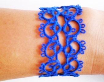 Blue Lace Bracelet, Romantic Bracelet, Tatted Bracelet, Lace Jewelry, Blue Lace Jewelry, Tatting Jewelry, Frivolite Bijou, Carmentatting