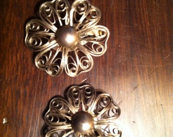 Beautiful antique chinese sterling silver clip on earrings