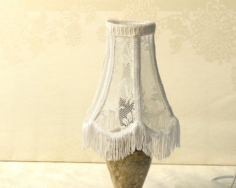 Shabby chic lamp shade, Lace table lighting in long fringe, Retro lamp, Floral lace home decor, Country French decor, Rustic light.